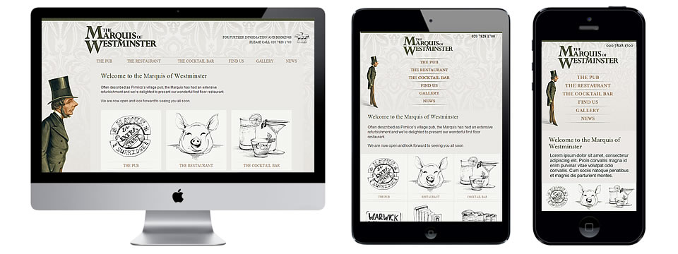 webdesign london portfolio - The Marquis of Westminster
